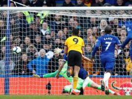 Raul Jimenez scores for Wolves against Chelsea at Stamford Bridge