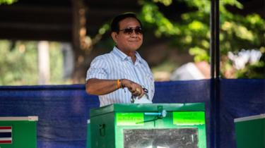Current Prime Minister, General Prayuth Chan-o-cha, votes on March 24, 2019