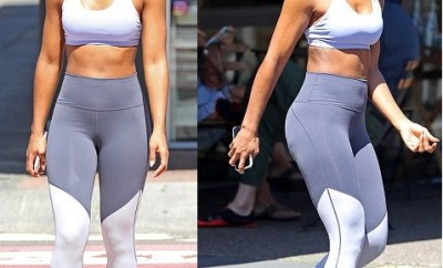 Kelly Rowland flaunts her incredible abs in a tiny crop top and gym gear in Sydney (Photos)