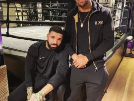 Drake hangs out with Anthony Joshua in the boxing ring ahead of his 23rd professional fight (Photo)