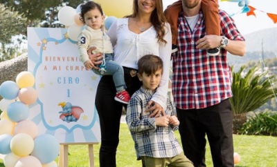 Beautiful family photo of Lionel Messi, his wife and their sons.