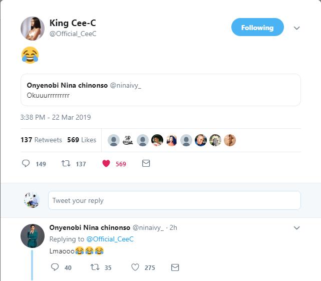?#BBNReunion: Cee-C and Nina enjoy a laugh on Twitter after sex between