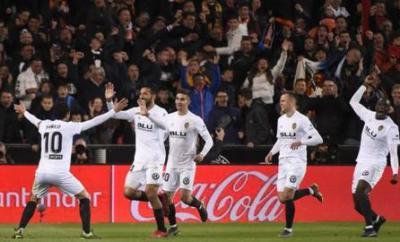 Valencia players celebrate