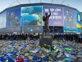 Floral tributes to Emiliano Sala outside Cardiff City Stadium