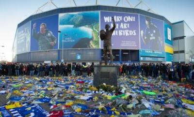 Floral tributes to Emiliano Sala outside Cardiff City Stadium