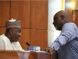 Caption this new photo of Senate President Bukola Saraki and Senator Dino Melaye