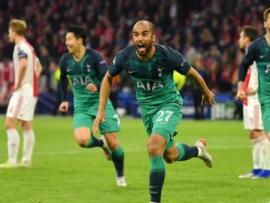 Lucas Moura celebrates scoring for Tottenham against Ajax in the Champions League