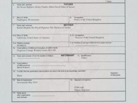 Archie Harrison Mountbatten-Windsor's birth certificate