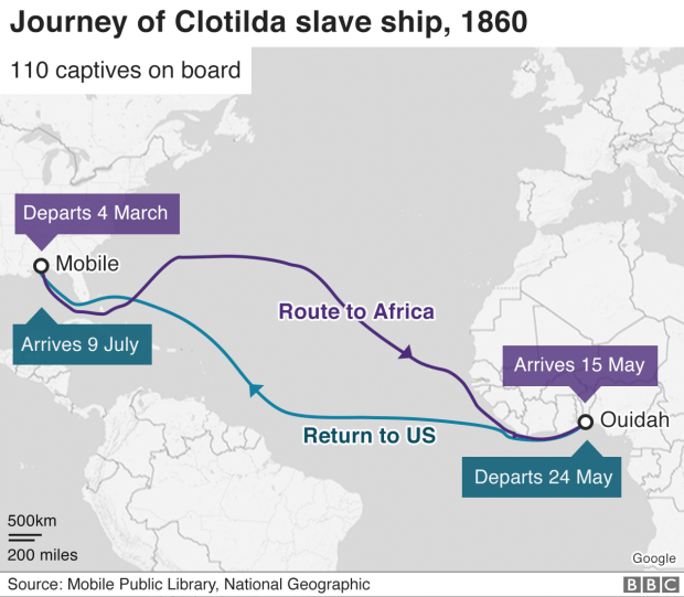 A map showing the route of the slave ship Clotilda