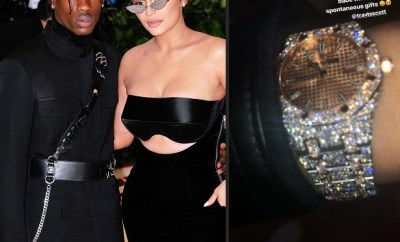 Travis Scott surprises his bae Kylie Jenner with new diamond wristwatch (Photo)