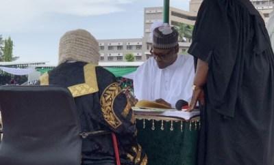 Breaking: President Buhari and VP Yemi Osinbajo sworn-in for second term (Photos)