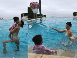Cute new photos of Kylie Jenner & her one-year-old daughter Stormi splashing around in the pool