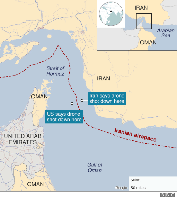Map showing where both the US and Iran say a US drone was when it was shot down