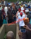 Adekunle Gold And Wife Simi Filmed Paying Their Last Respects As His Father, Prince Hakeem Kosoko is Laid To Rest [Photos/Videos]