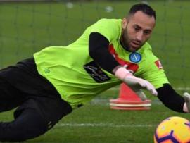 Napoli goalkeeper David Ospina makes a save in training