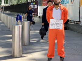 Nigerian Singer Lamboginy protests at United Nations over prisoners awaiting trial for years in Nigerian prison