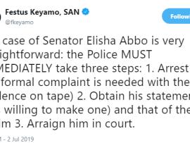 The police must immediately arrest Senator Elisha Abbo and arraign him in court- Festus Keyamo