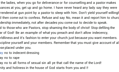 """""""Pastors are humans. Ladies should stop dressing indecently to church""""- Nigerian lady blames women for increasing rate of immorality in the society"""