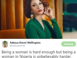 Being a woman is hard enough but being a woman in Nigeria is unbelievably harder- Adesua Etomi