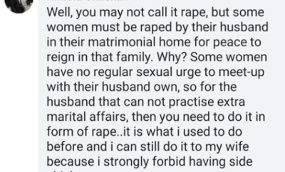 """Man confesses to raping his wife, says """"some women must be raped for peace to reign in the family"""""""