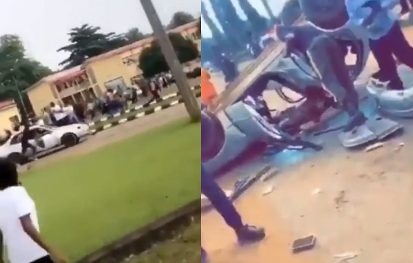 SARS operatives leave their car behind while fleeing from TASUED students over an