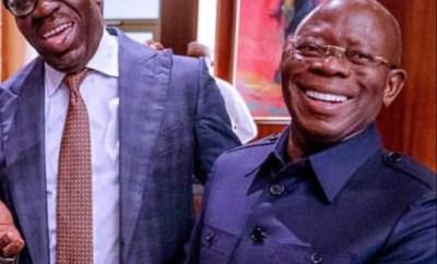 Photos: Adams Oshiomole and Governor Godwin Obaseki all smiles at state house Abuja despite their political war