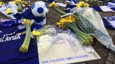 Tributes on the ground outside Cardiff City Stadium