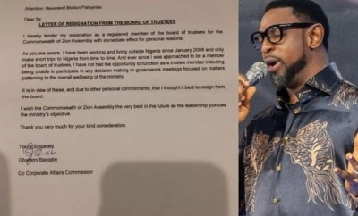 Pastor Obafemi Banigbe resigns as a COZA board of trustees member??with immediate effect""