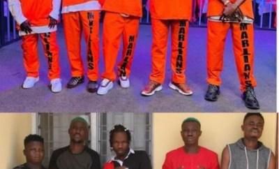 Rocking prison uniforms, Naira Marley, Zlatan and Rahmah Jago recreate their famous EFCC