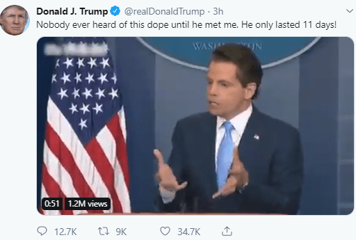 Donald Trump throws shade at Anthony Scaramucci by tweeting old video of the former aide praising him