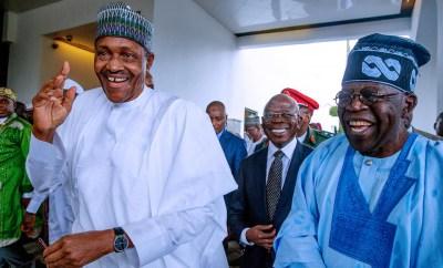 Caption this new photo of President Buhari, Bola Tinubu and Oshiomhole