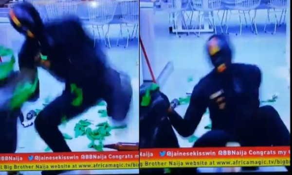 Watch the hilarious moment a BBNaija Ninja fell while messing up the house (video)