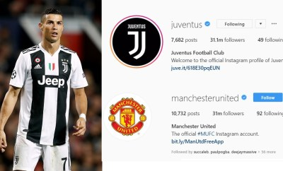 The Cristiano Ronaldo effect: Juventus overtake Man. United to become third most-followed football club on Instagram
