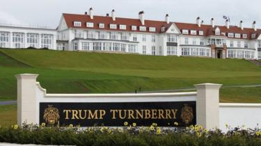 An exterior view of the hotel at the Trump Turnberry golf resort in Turnberry, Scotland