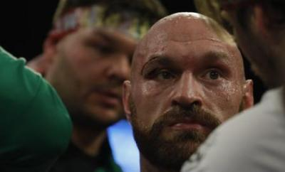 Tyson Fury displaying a deep cut above his right eye