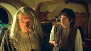 Scene from The Lord of the Rings: The Fellowship of the Ring film with Ian McKellen as Gandalf with Elijah Wood as Frodo