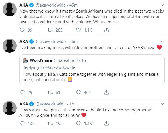 Xenophobia:?10 South Africans dead in last two weeks, zero Nigerians, Twitter made you turn on your own country - Rapper. AKA