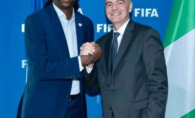 Nigeria football legend, Nwankwo Kanu meets with FIFA president Gianni Infantino