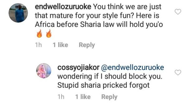 Cossy Ojiakor slams followers as she