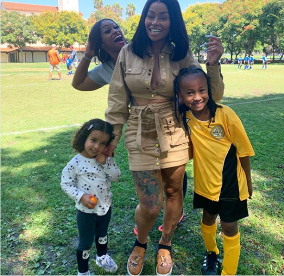 Blac Chyna, her mum Tokyo Toni, and Dream Kardashian pictured supporting King Cairo on game day (photos)