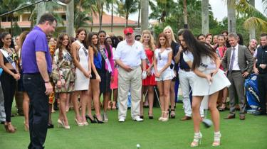 Mr Trump attends a golf course opening day at the Doral