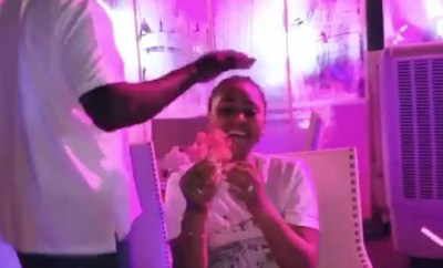 Ned Nwoko plucks flower for wife Regina Daniels as he surprises her with a birthday treat (Videos)