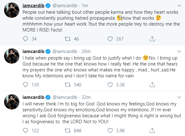 """I will never think I?m to big for God"" Cardi B talks about her relationship with God"