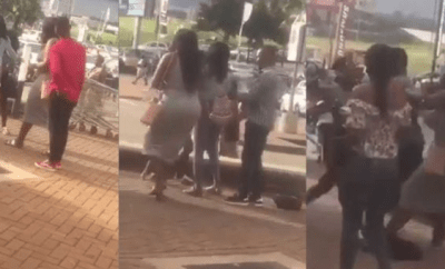 Main Chick beats up Side Chick with her own wig after she caught her at the mall with her boyfriend (video)