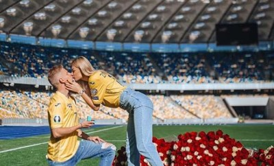 Manchester City star Zinchenko proposes to his stunning TV presenter girlfriend at Ukraine