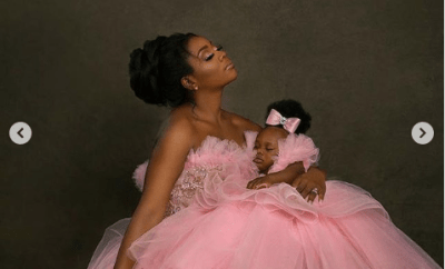 Super Eagles midfielder Ogenyi Onazi and wife Sandra celebrate their daughter