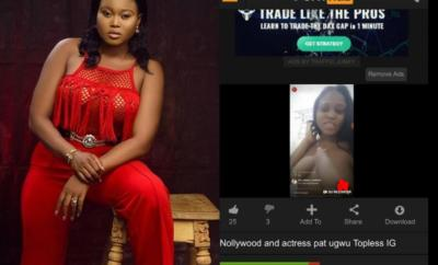 Exclusive: Actress Pat Ugwu exposes her boobs in Instalive video, nude video hits porn site (18+)