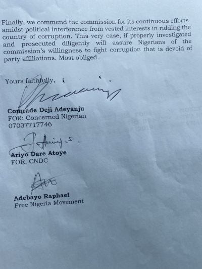 Photos: Deji Adeyanju submits petition to EFCC to investigate Asiwaju?Tinubu?s bullion vans