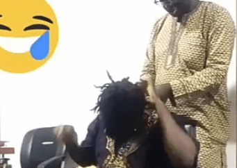 Adorable video of a man untangling his wife