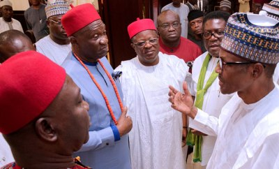 South-East leaders meet with President Buhari, demand FG to declare state of emergency on roads in the region